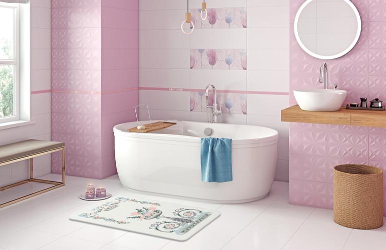 Мягкий коврик для ванной из полиамида Confetti bath La Fontaine 01-Pink