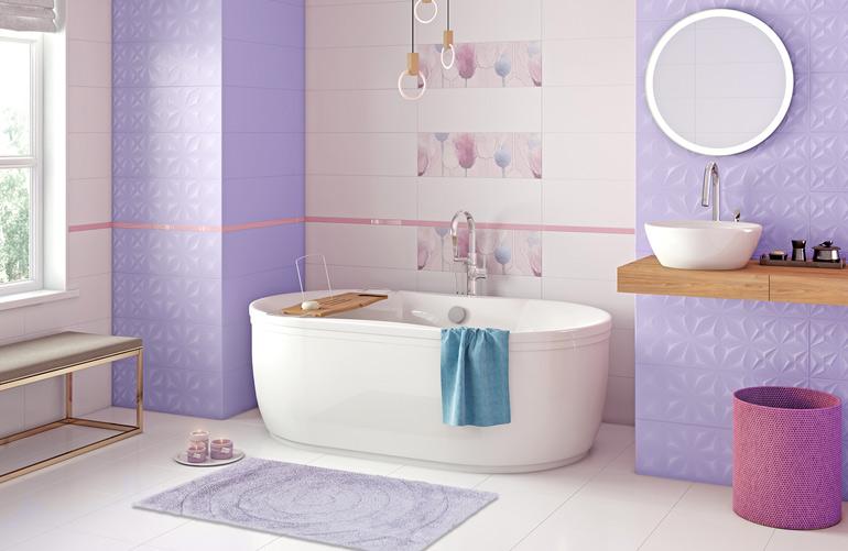 Сиреневый коврик для ванной Irya Bath Waves-Lilac