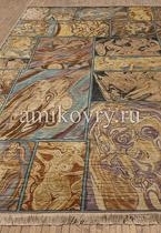 индийский шелковый ковер ручной работы 18+ 10/10 SM-511-Multy