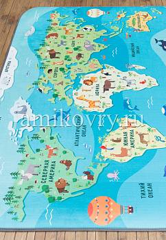 ковер в перспективе Matlig 0332 Карта мира